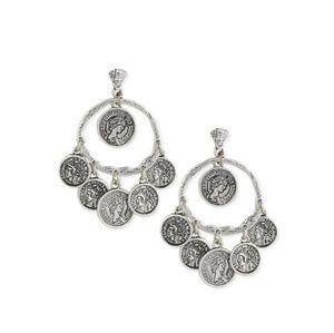 Silvertone Coin Drop Earrings
